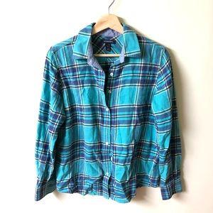 Land's end small plaid blue button down shirt